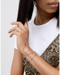 ASOS - Crystal Bead Dot Dash Hand Chain - Lyst
