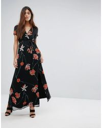 Vero Moda - Mesh Floral Printed Maxi Dress - Lyst