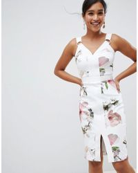 Ted Baker - Strappy Bodycon Dress In Harmony Floral Print - Lyst