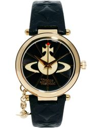 Vivienne Westwood | Leather Strap Watch With Orb Charm Vv006bkgd | Lyst