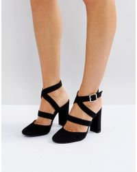 London Rebel - Asymmetric Block Point High Heels - Lyst