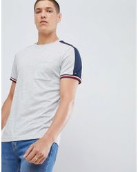 Tommy Hilfiger - Sports Capsule Icon Striped Cuff T-shirt & Sleeve Tape In Grey Marl - Lyst