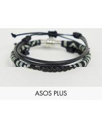 ASOS - Armbänder aus Leder und mit geflochtenem Design in Monochrom - Lyst