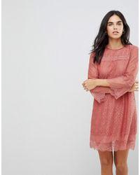 Hazel - Teracotta Lace Shift Dress - Lyst