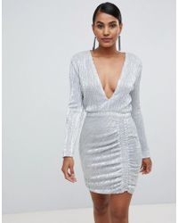 fd90cdff12 Lavish Alice - Sequin Embellished Mini Dress In Silver Iridescent - Lyst