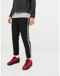 Pull&Bear - Trousers In Black With Red And White Side Stripe - Lyst
