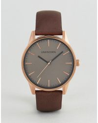 Unknown - Classic Brown Leather Watch With Rose Gold Dial - Lyst