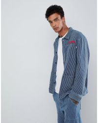 FairPlay - Striped Worker Jacket With Chest Embroidery In Blue Stripe - Lyst