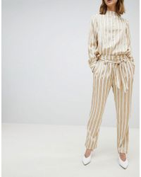 SELECTED - Femme Metallic Striped Wide Leg Trousers With Belt - Lyst