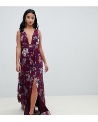 1d966111a ASOS - Asos Design Petite Pleated Maxi Dress With Tape Detail In Winter  Floral Print -