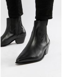 ASOS - Cuban Heel Western Boots In Black Leather With Lightening Detail - Lyst