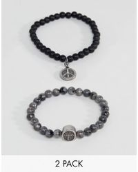 Seven London - Black & Grey Beaded Bracelet In 2 Pack - Lyst