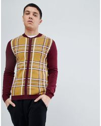 ASOS DESIGN - Asos Knitted Bomber In Burgundy And Mustard Check - Lyst