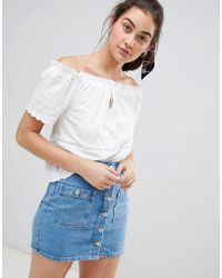 d4b973314c9a0a Pull Bear - Off The Shoulder Broiderie Anglais Top In White - Lyst