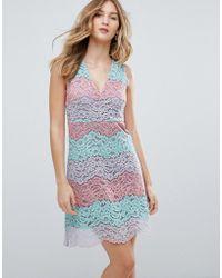 Traffic People - V Neck Striped Lace Midi Dress - Lyst