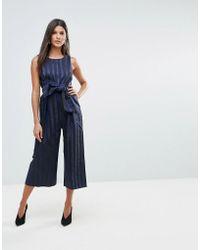 Closet - Wardrobe Stripe Front Bow Culotte Jumpsuit - Lyst