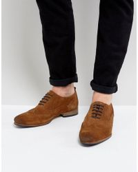 ASOS - Brogue Shoes In Tan Suede With Contrast Sole And Lace Detail - Lyst