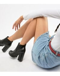 fb3706b81db Truffle Collection - Wide Fit Platform Ankle Boots - Lyst