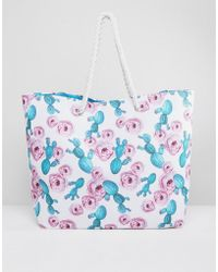 South Beach - Cactus And Rose Print Beach Bag With Rope Handle - Lyst