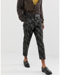 ASOS - Slim Suit Pants In Gold And Black Floral Jacquard - Lyst