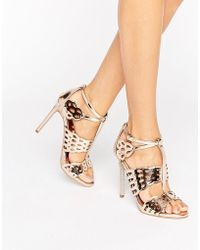 Carvela Kurt Geiger | Give Bronze Metallic Heeled Sandals | Lyst
