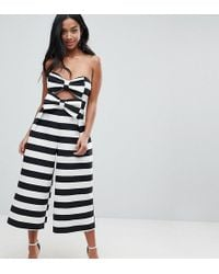 7f0a94be428 Lyst - ASOS Jumpsuit In Structured Fabric With Knot And Drape Detail ...