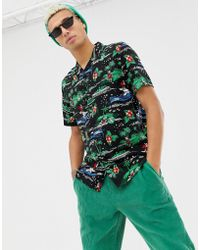 New Look - Revere Shirt With Santa Print In Black - Lyst