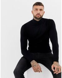 Bershka - Muscle Fit Roll Neck Jumper In Black - Lyst