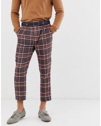 ASOS - Skinny Smart Trousers In Wool Mix Check In Purple - Lyst