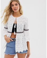 Boohoo - Broderie Jacket With Embroidery In White - Lyst