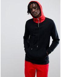 ASOS - Design Longline Hoodie In Black With Contrast Hood And Half Zip - Lyst