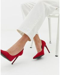 Bershka - Pointed Court Shoe In Red - Lyst
