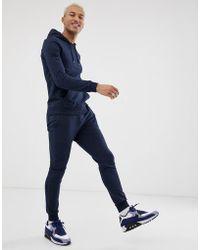 ASOS - Felpa aderente con cappuccio/joggers della tuta extreme skinny blu navy - Lyst