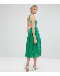 ASOS - Salon Lace Pinny Backless Full Midi Prom Dress - Lyst