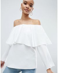 b2232de117f3d ASOS - Tiered Top With Off Shoulder Detail In Ivory - Lyst