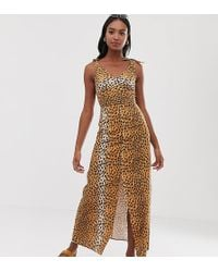 0f0ede7986413 ASOS - Asos Design Tall Tie Back Linen Maxi Dress In Leopard Print - Lyst