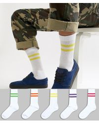 ASOS - Sports Style Socks With Bright Stripes In White 5 Pack - Lyst