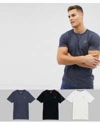 c4e2cfe92 Hollister - 3 Pack Crew Neck T-shirt Seagull Logo Slim Fit In White/