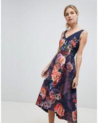 Oasis - Occasion Floral Print V Neck Skater Prom Dress - Lyst