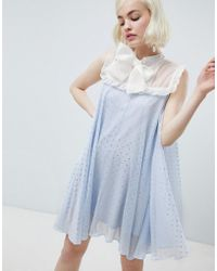 Sister Jane - Smock Dress With Pussybow In Sparkle Fabric - Lyst