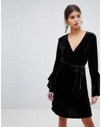 Vila - Velvet Sleeve Ruffle Wrap Dress - Lyst