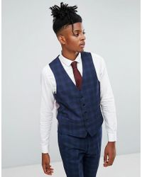 Rudie - Blue Prince Of Wales Check Skinny Fit Waistcoat - Lyst