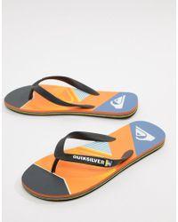 Quiksilver - Slash Fade Logo Flip Flop In Orange - Lyst