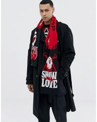 Cheap Monday - Scarf In Red With Show Me Love Design - Lyst