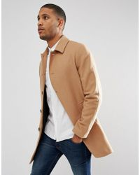 ASOS - Wool Mix Trench Coat In Camel - Lyst