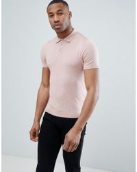 ASOS - Knitted Polo T-shirt In Dusty Pink - Lyst