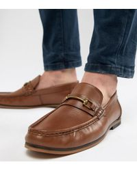 ASOS - Wide Fit Loafers In Tan Leather With Snaffle - Lyst