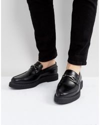 ASOS - Loafers In Black Leather With Black Creeper Sole - Lyst
