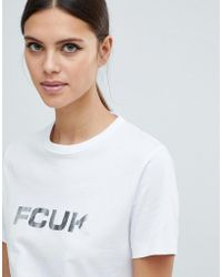 French Connection - Fcuk Bold T-shirt With Metallic Logo - Lyst