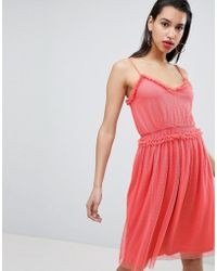 Vila - Dobby Spot Tulle Dress - Lyst